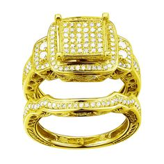 10k White Gold 6/10ct TDW Diamond Ring Set (G-H, I1-I2) (Yellow Gold, Size 10), Women's