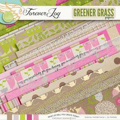 Digital Scrapbooking Kit -GREENER GRASS Page Kit | ForeverJoy Designs