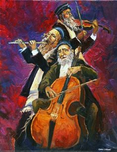 Large Oil Painting Jewish Musicians Kleizmer Made by art4heart2014