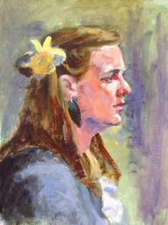"""""""Young Woman with A Flower"""" (Acrylic) by Tom Webber"""