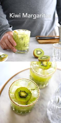 Summer Drinks, Cocktail Drinks, Cocktail Recipes, Alcoholic Drinks, Spring Cocktails, Beverages, Kiwi Margarita Recipe, Tequila, Yummy Recipes