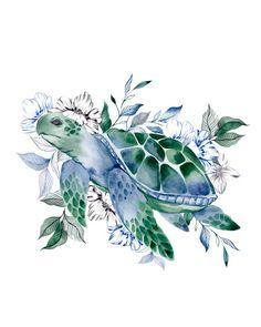 Harmony Tattoo, Tatoo Flowers, Turtle Tattoo Designs, Illustrator, Turtle Images, Sea Turtle Art, Spooky Tattoos, Watercolor Sea, Turtle Painting