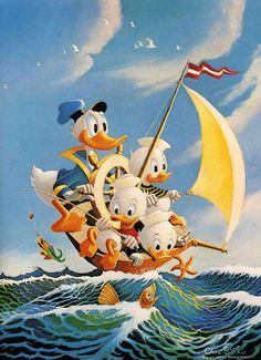 Donald Duck with Huey, Louie and Dewey Painting 2278x3143