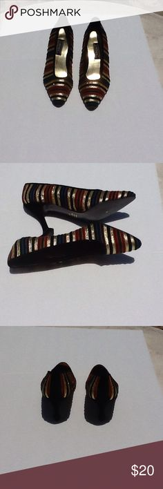 Vintage 90's 1990's Striped High Heel Shoes Gorgeous striped colored high heel shoes, with colors of gold, maroon, dark green, dark blue. The shoes are perfect for evening, wedding and the Rockabilly girl in you.  J. Renee Shoes Heels