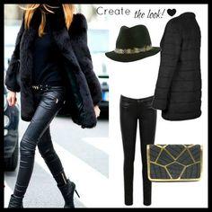 Black Fur Coat & Leather pants, balck & gold croco cluthc, black fedora