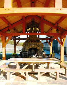 Timber frame pavilions connect your home life to the natural world and creates yet another enjoyable space. Let's design one for your new hardscape, back yard or pool.