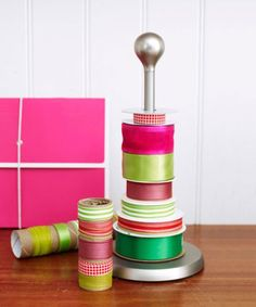 Recognize this paper towel holder? It's basically the easiest way to showcase your collection of ribbon.