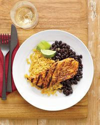 Fast Healthy Meals - Puerto Rican-Style Turkey - Chef Bill Kim makes this curry-and-chile-spiced marinade inspired by lechón, a slow-roasted Puerto Rican pork dish that he learned from his mother-in-law. Because the flavors are intense, it's best to scrape off the marinade before grilling.