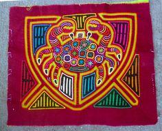 Mola Art Kuna Traditional Vibrant Appliqued Textile Crab Animal Motif Ethnix | eBay