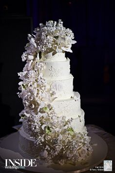 White Floral Sugar Cake  |  Photograph by: Gruber Photographers  |  Cake by: Sylvia Weinstock Cakes