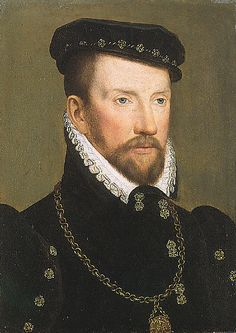 Admiral Gaspard de Coligny, the leader of the Huguenots was murdered in the St. Bartholomew's Day massacre / Painting by Francois Clouet.