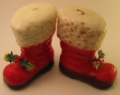 vintage christmas candles santa boot candles by rivertownvintage