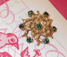 Vintage 1960s Round Goldtone Faux Emerald and Pearl by RitasGarden, $12.95