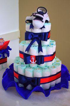 Decoração chá de bebê menino - Marinheiro - bolo de fraldas