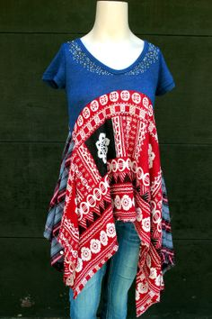 Boho Shirt, Bohemian Junk Gypsy Style, Mori Girl, Lagenlook, Cowgirl Country Girl Chic, Coachella Music Festival Shirt
