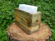 Rustic reclaimed pallet wood napkin holder by UpTheCreekRustic, $15.00