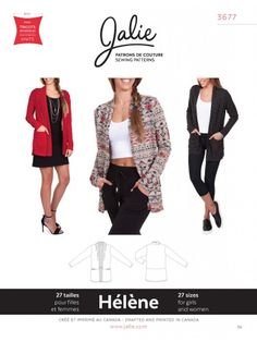 This Jalie 3677 Helene Open Front Shawl Collar Cardigan Sewing Pattern for Women & Girls is just one of the custom, handmade pieces you'll find in our patterns & blueprints shops. Pajama Pattern, Hoodie Pattern, Cardigan Pattern, Pants Pattern, Lingerie Patterns, Clothing Patterns, Sewing Patterns, Sewing Ideas, Sewing Projects