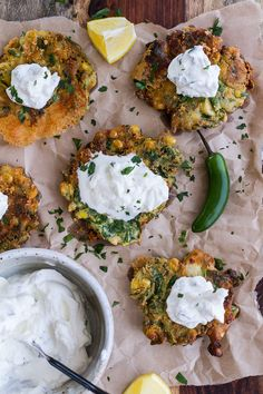 Spinach and Artichoke Corn Fritters with Brie and Sweet Honey Jalapeño Cream   halfbakedharvest.com