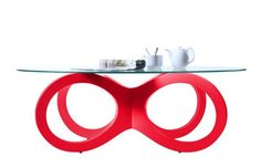 Table basse design verre rouge BUTTERFLY - Zoom