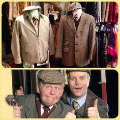 Still Games Jack and Victor popped in for a visit!  Left: Mens Daks jacket - UK S/M - £38 & 70's green shirt - UK M - £14 & Cream woolen vest - £5!  Right: Mens Harris Tweed jacket - UK S - £28 & Lyle and Scott Browm jumper - £18 & Pink Liberty shirt - UK M - £18  #StillGame #JackandVictor #scottish #outfit #fancydress #costume #oldmen #tweed #harristweed #glasgowbanter #banter #glesga #patter #glaswegian #scot #scotland #mon #gonyersel #vintageguruscotland #byresroad #glasgow #westend #shop