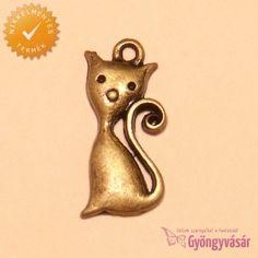 Rézszínű Cirmi cica - nikkelmentes fém zsuzsu / fityegő