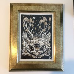 Some last minute framing for next Friday's show.  I rarely frame pictures so I do it all by hand without power tools. I'm elated to have everything I need already in my studio to give these little paintings a glass house to live in.  have #kellypattonart #framing #mushroomguardians #mystic #inkdrawing #forestspirit