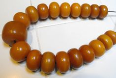Antique African Amber Trade beads necklace strand large beads