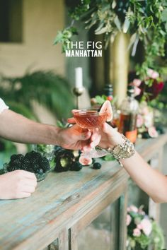 Fig Manhattan  Fruit cocktails: http://www.stylemepretty.com/2014/09/19/fun-ways-to-infuse-fall-fruit-into-your-wedding/
