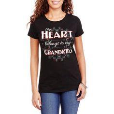 Women's Heart Grandkids Valentine's Day Graphic T-Shirt, Size: Large, Black