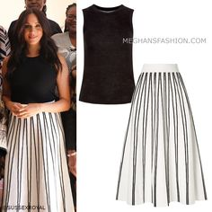 "26 Sep 2019 - What Meghan wore to ""Women in Public Service"" breakfast meeting - ChefKoch Midi Skirt Outfit, Midi Flare Skirt, Skirt Outfits, Estilo Meghan Markle, Meghan Markle Style, Royal Fashion, Fashion Looks, Meghan Markle Outfits, Stripe Skirt"