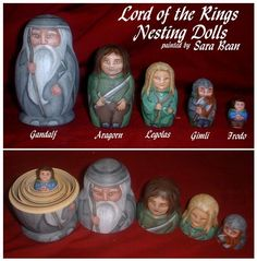 Lord of the Rings Nesting Dolls by AcuteCat on Etsy. -- These are too cute!! I want them!