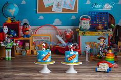 Naperville and Chicago First Birthday Photographer – Twins Cake Smash - Toy Story Cake Smash – Petite Studios LLC Rodeo Birthday, Twin Birthday Parties, Toy Story Birthday, 2nd Birthday, Twin Cake Smash, Twins Cake, Woody And Jessie, Toy Story Theme, Toy Story Cakes