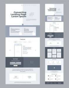 Landing Page Wireframe Design Business One Page Website Layout Template Website Layout Template, Website Design Layout, Website Design Inspiration, Web Layout, Wireframe Design, Design Ios, Dashboard Design, Flat Design, Graphic Design