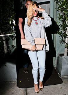 Light jeans, grey sweater, beige clutch, statement necklace, beige heels