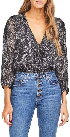 a8e5cfba6676 Women's Astr The Label Bernadette Surplice Bodysuit, Size Large ...
