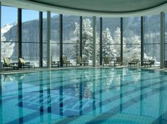 Incredible views of the Swiss Alps all while staying warm in the winter in this indoor pool at Badrutts Palace Hotel