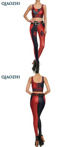 QIAOZHI New Fashion Harley Quinn Super Hero Comic Cosplay Leggings &Tops 3D Printed Dead-pool High Waist Slim  Fitness Set Women