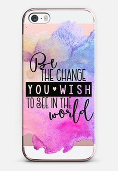 Be The Change You Wish To See In The World-Gandhi Blue and Purple Watercolor…