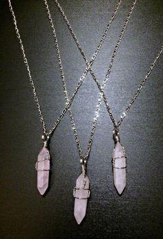Rose Quartz Necklace Wire wrapped natural by CelestialMerchant