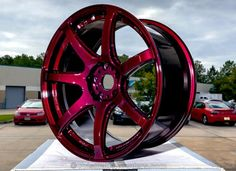 Custom Powder Coated Wheel, Automotive Wheel - Illusion Malbec with Clear Vision Top Coat