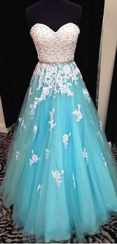 Blue prom dress, sweet heart prom dress Prom dress from http://www.luulla.com/product/468987/a-line-lace-prom-dress-tulle-prom-dress-a-line-prom-dress-s-trapless-prom-dress-floor-length-prom-dress-pm634