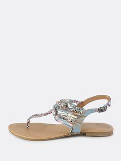 Multi Thread Jewel Thong Sandals LIGHT BLUE 29.65