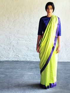 Buy Neon Green Blue Nasreen Cotton Silk Saree By Raw Mango Sarees Woven Mashroo A Collection of Online at Jaypore.com