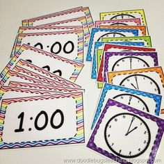 Doodle Bugs Teaching {first grade rocks!}: Back to School Pocket Chart Activities Teaching First Grade, Teaching Time, 1st Grade Math, Teaching Math, Math Classroom, Kindergarten Math, Math Games, Math Activities, Math Clock