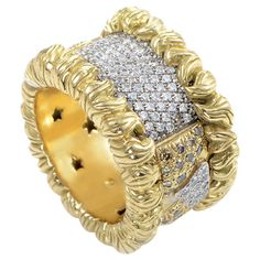 H. Stern Wide Yellow Gold Diamond Pave Band Ring | From a unique collection of vintage band rings at http://www.1stdibs.com/jewelry/rings/band-rings/