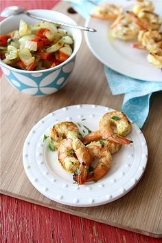 Grilled Curry Shrimp Skewers with Grilled Onions & Red Pepper Recipe