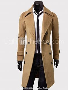 Men's Solid Casual Coat,Cotton Blend Long Sleeve-Black / Brown / Gray / Tan 2016 - $22.99