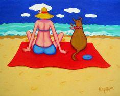 Whimsical Beach Art Woman Dog Seashore Coastal Print by korpita