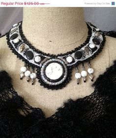 ON SALE Bead Embroidered Collar Howlite Cabachon by bjswearableart, $75.00