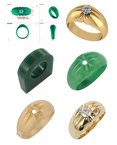 a CAD of a Split shank ring, the hand carved wax, cast and then set and finished ring.